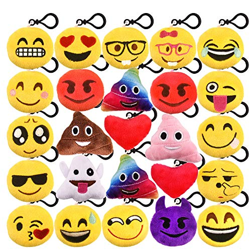 Kuuqa 25 Pack Emoji-Pop Plush Pillow Keychain Emoji Party Supplies Easter Egg Filler Easter Gift for Kids Car Key Ring Pendant Keychain Decorations 2