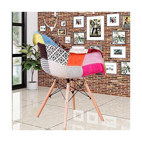 N/A lot de Deux fauteuils patchwork en tissu de lin pour loisirs salon coin fauteuils de réception avec dossier et pieds en bois naturel , Lin Hêtre Polypropylène Alliage d'acier, Rouge, 82*42*48
