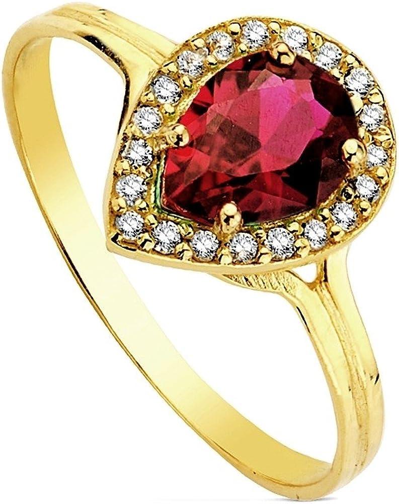 Sortija oro 18k lágrima piedra roja multipiedra 7mm. [AB3151]