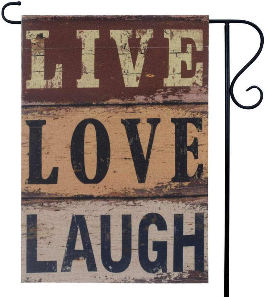 LINKWELL Antique Live Love Laugh Quote Garden Flag Double Sided 12.5 x 18 Inch Words Yard Flag Outdoor Decor Home Decorations GF28