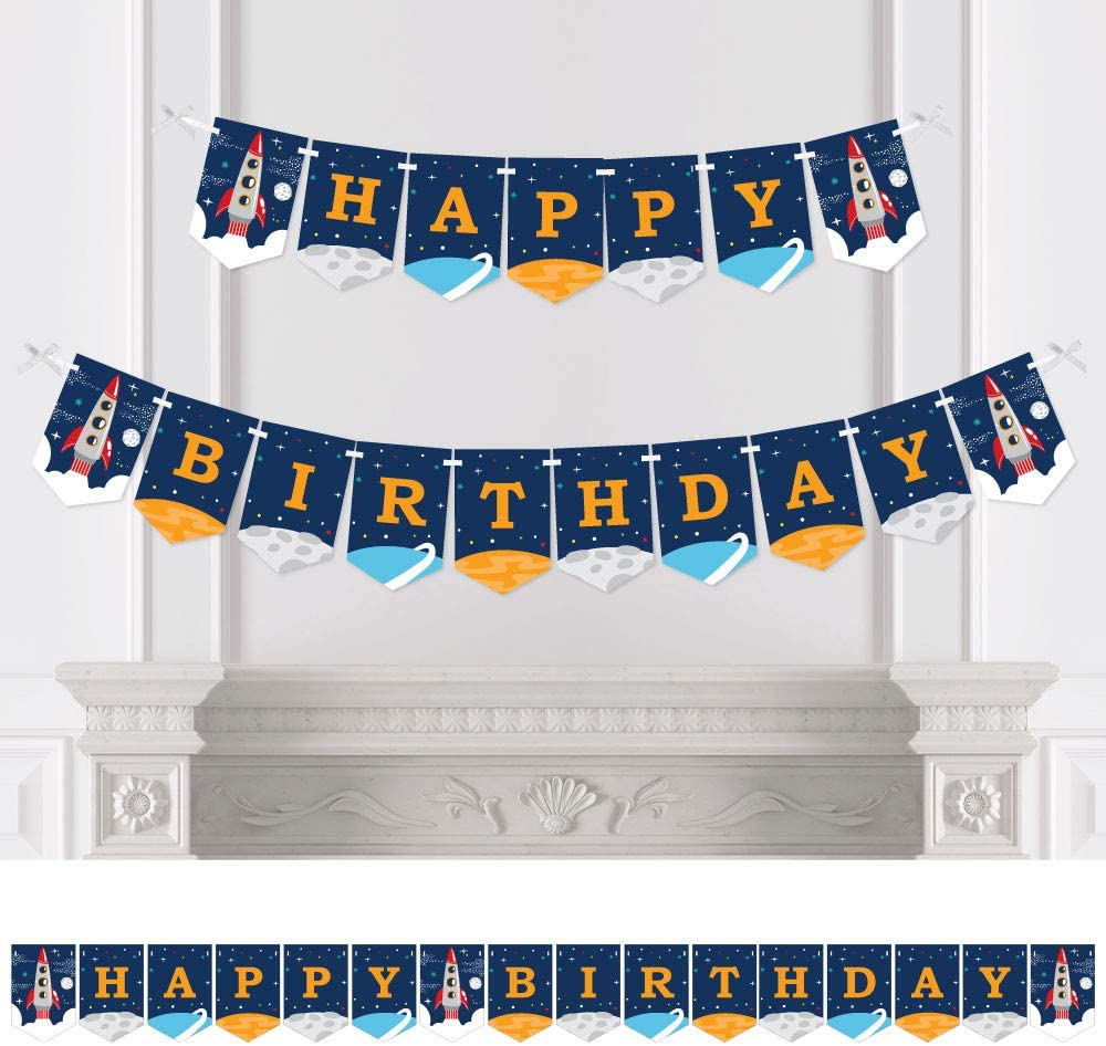 Happy Birthday Birthday Party Decorations Rocket Ship Birthday Party Bunting Banner Big Dot of Happiness Blast Off to Outer Space