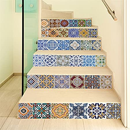 Yanqiao Spanish Talavera Mexican Tile Mix Stair Decal Strips