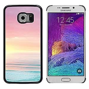 TopCaseStore / la caja del caucho duro de la cubierta de protección de la piel - Sea Ocean Summer Sun Beach Purple - Samsung Galaxy S6 EDGE SM-G925
