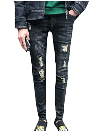 c43dc743982 Nicelly Men Spring Summer Slim-Tapered Wash Denim Pants Trousers Jeans at  Amazon Men s Clothing store