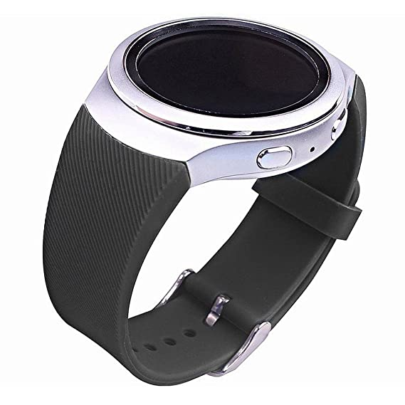 For Samsung Gear S2 Watch Band, Soft Silicone Sport Style Watch Band for Gear S2 SM-R720/SM-R730 Smart Watch (Black Twill)