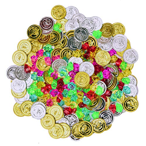 FUN LITTLE TOYS 288 PCs Pirate Gold Coins and Pirate Gems Jewelery Playset, Plastic Gold Coins, Goodie Bag Fillers Party Favor for Kids(144 Coins+144 Gem)