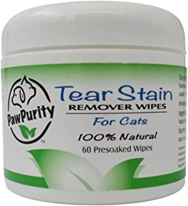 PawPurity Tear Stain Remover Wipes for Cats | 100% Natural, Safe and Effective. | Removes Stains from Eyes of Cats and Kittens | Recommended by Vets/Groomers | Contains Colloidal Silver