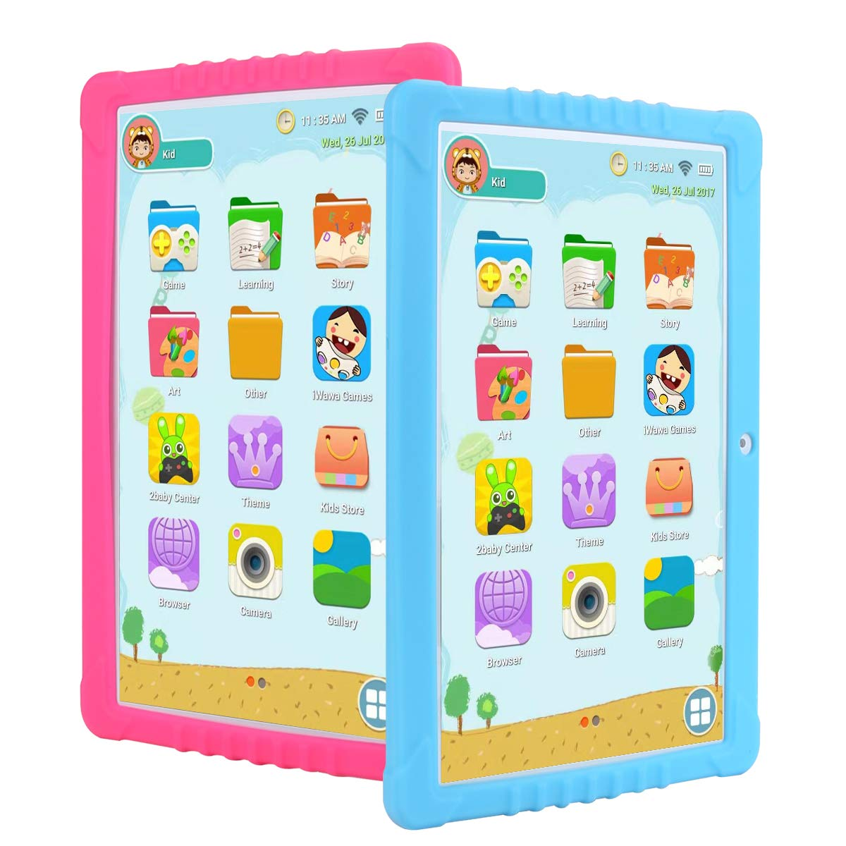 SANNUO Kids Tablet 10.1 inch, GMS-Certified Android 8.1 and Kids -Mode Dual System,Quad Core,16GB ROM,2.0+5.0MP Dual Camera,IPS1280x800 Screen,3G,GPS,Google Play with Learning App for Children. by SANNUO