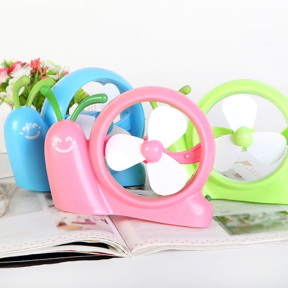 Color : Green DNXL Mini Fan Creative Portable USB Plug Cartoon Snail Fan for Student Dormitory//Office