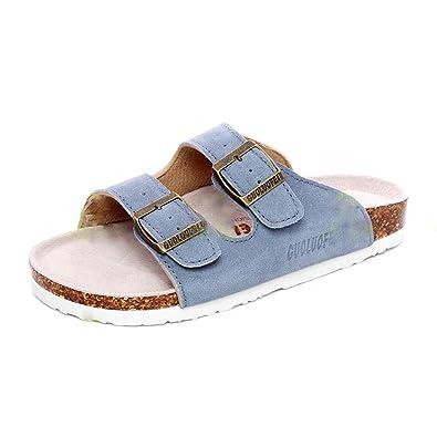 1864361c3f4a53 Asifn Women s Platform Sandals Clogs Mules Men s Cork Adjustable Suede  Leather Strap Buckle Flat Open Toe
