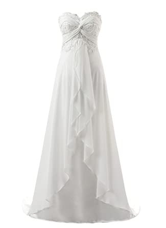 8ac88a24a464 Vantexi Women's Sweetheart Chiffon Long Beach Wedding Dress Ivory Size 0