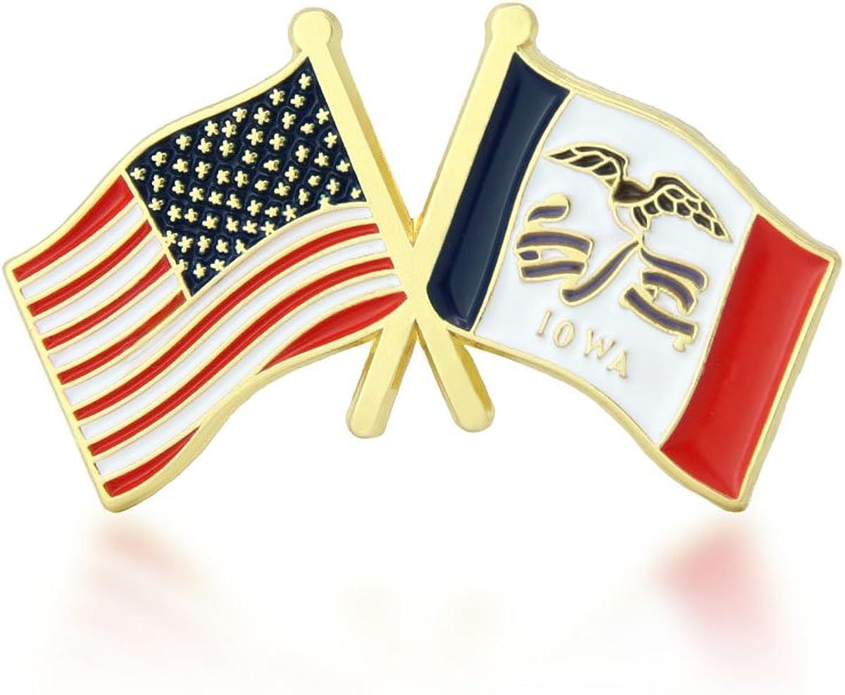 GS-JJ American and Iowa State Crossed Friendship Flag Enamel Lapel Pin