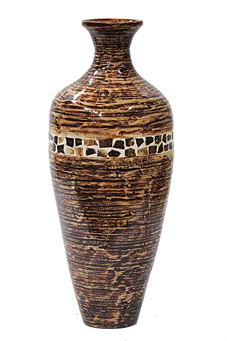 Heather Ann Creations Alma Collection Decorative Handcrafted Rounded Shape  Natural Bamboo Vase With Classic Oil Shape