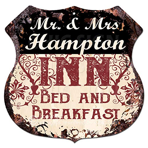 "Bed Hampton Inn (Mr & Mrs HAMPTON INN Bed & Breakfast Custom Personalized Chic Tin Sign Vintage Retro 11.5""x 11.5"" Shield Metal Plate Store Home man cave Decor Funny Gift Ideas)"