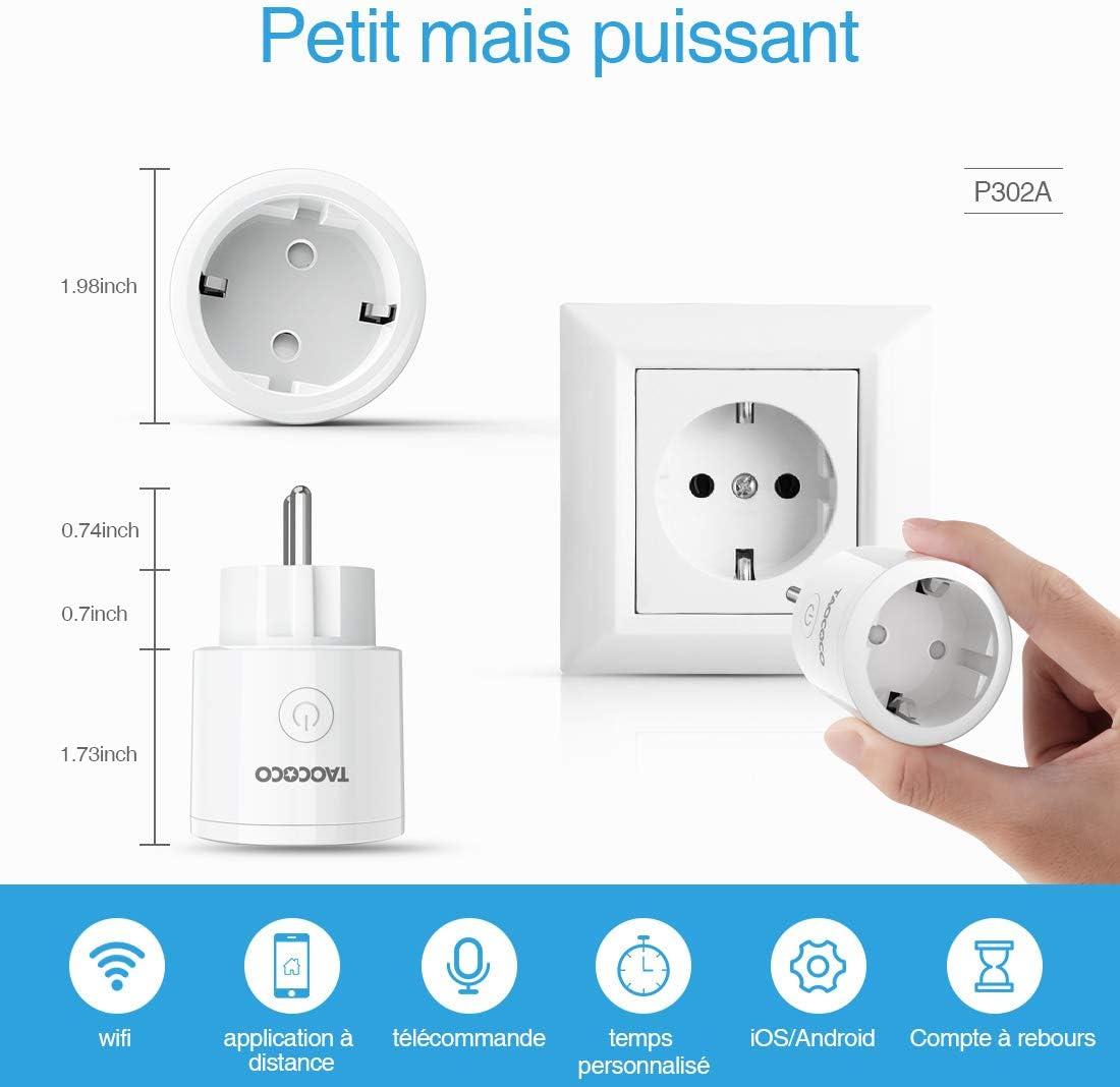 Prise Intelligente Google Home et IFTTT Prise en Charge du Commutateur TAOCOCO Prise Intelligente Connect/ée WIFI Compatible avec Alexa