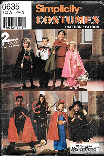 Simplicity Printed Pattern - Sewing - # 0635 - Halloween Costumes Capes Robes Tunics and Headpieces - Boys and Girls Size A ( Small to Large )