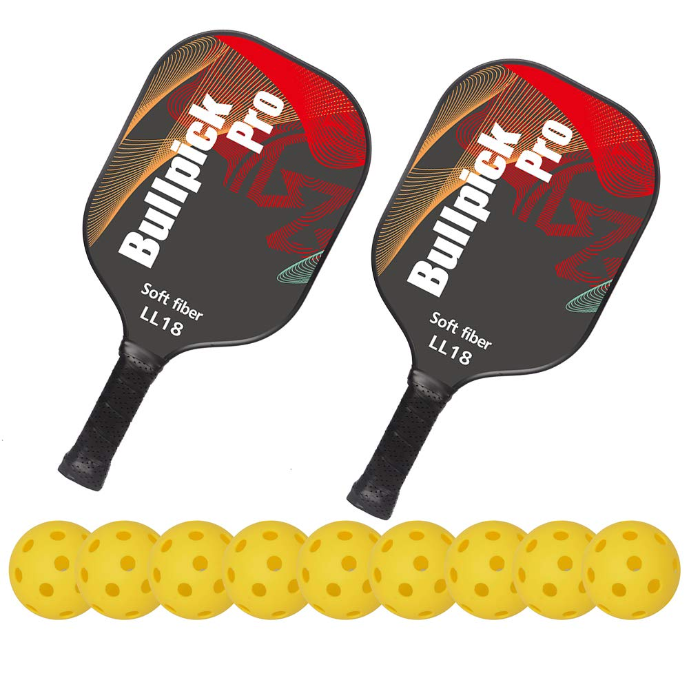Bullpickpro Pickleball Paddle Sets-Composite Fiber Face and PP Honeycomb Core Pickleball Racquet,Lightweight(The Average of 7.2oz) Edge Guard Balanced Pickleball Rackets with 9 Pickleballs,Red