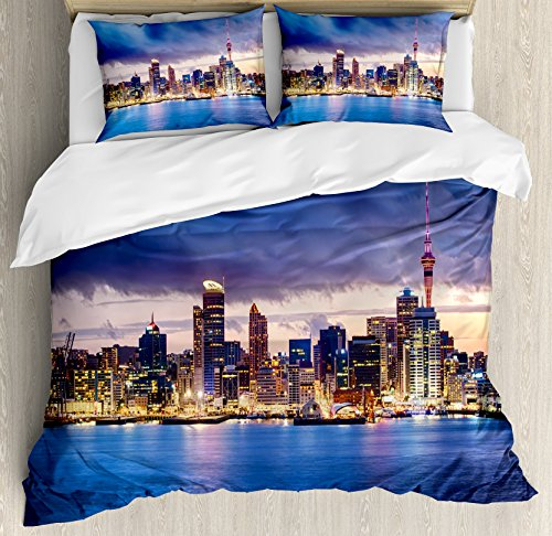 Ambesonne City Duvet Cover Set King Size, Auckland The Biggest City in New Zealand Waterfront Travel Destination, Decorative 3 Piece Bedding Set with 2 Pillow Shams, Navy Blue Pale Yellow