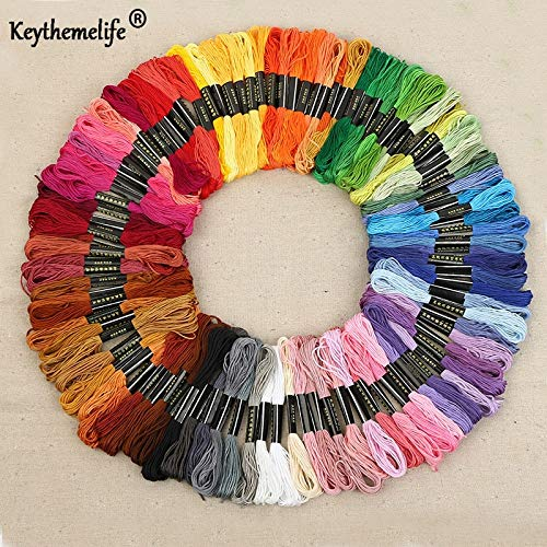 (Zamtac Keythemelife 100colors/lot Embroidery Thread Anchor Cross Stitch Cotton Quality 8M Length Floss Sewing Skeins Craft EA)