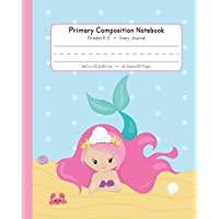 Primary Composition Notebook Grades K-2 Story Journal: Picture Space And Dashed Midline | Kindergarten to Early Childhood | 120 Story Paper Pages | Mermaid Watercolor Series