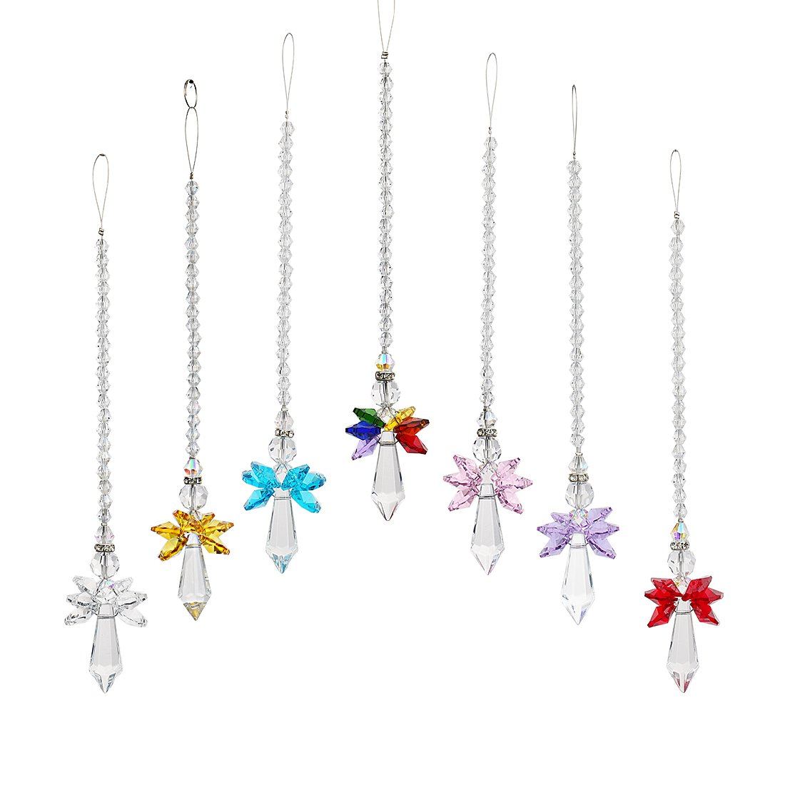 Qf Rainbow Guardian Angel Crystal Suncatcher For Home/Car Decoration & Porch Decor & Hangings Crystal Glass Ornament (Set 7)