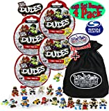 Tech Deck Dudes Mystery Blind Bags (Series 1) Gift Set Party Bundle with Bonus Matty's Toy Stop Storage Bag - 4 Pack (Assorted Styles)