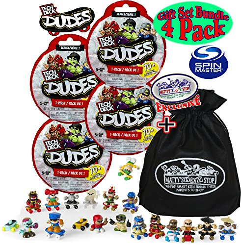 (Tech Deck Dudes Mystery Blind Bags (Series 1) Gift Set Party Bundle with Bonus Matty's Toy Stop Storage Bag - 4 Pack (Assorted Styles))