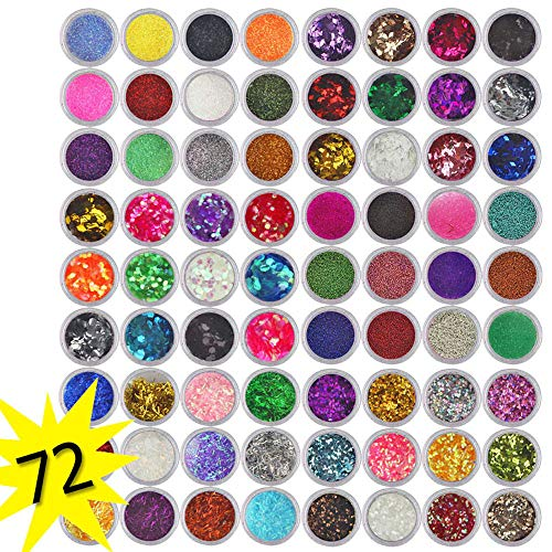 DDIGEjin Nail Powder,72 Colors Acrylic Nail Art Tips Design Powder Dust, Glitter Nail SequinsColorful Mixed Festival Glitter Cosmetic Face Hair Body Glitter 3D Nail - Tip Powder