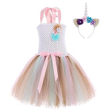 5331fb73306a49 Enfant Fille Déguisement Licorne Robe 2PCS Princesse Tutu Jupe + ...