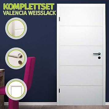 HORI® - Juego completo de puerta para habitaciones, con marco y tirador de puerta, puerta interior