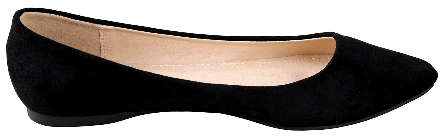 Bella Marie BellaMarie Angie-28 Women's Classic Pointy Toe Ballet Flat Shoes Black Suede 9 B(M) US by Bella Marie (Image #2)