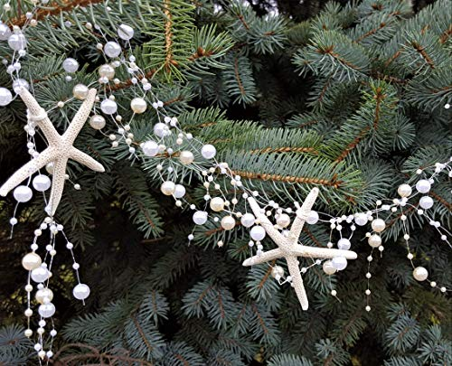 Beach Decor Nautical Beaded Starfish Garland - White Starfish Decorative Garland - 5FT -
