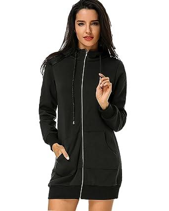 6c497aaf1662 Auxo Women Hoodie Zip up Long Sleeve Casual Pocket Pullover Sweatshirt  Jacket Tops Mini Dress Black 3XL: Amazon.co.uk: Clothing
