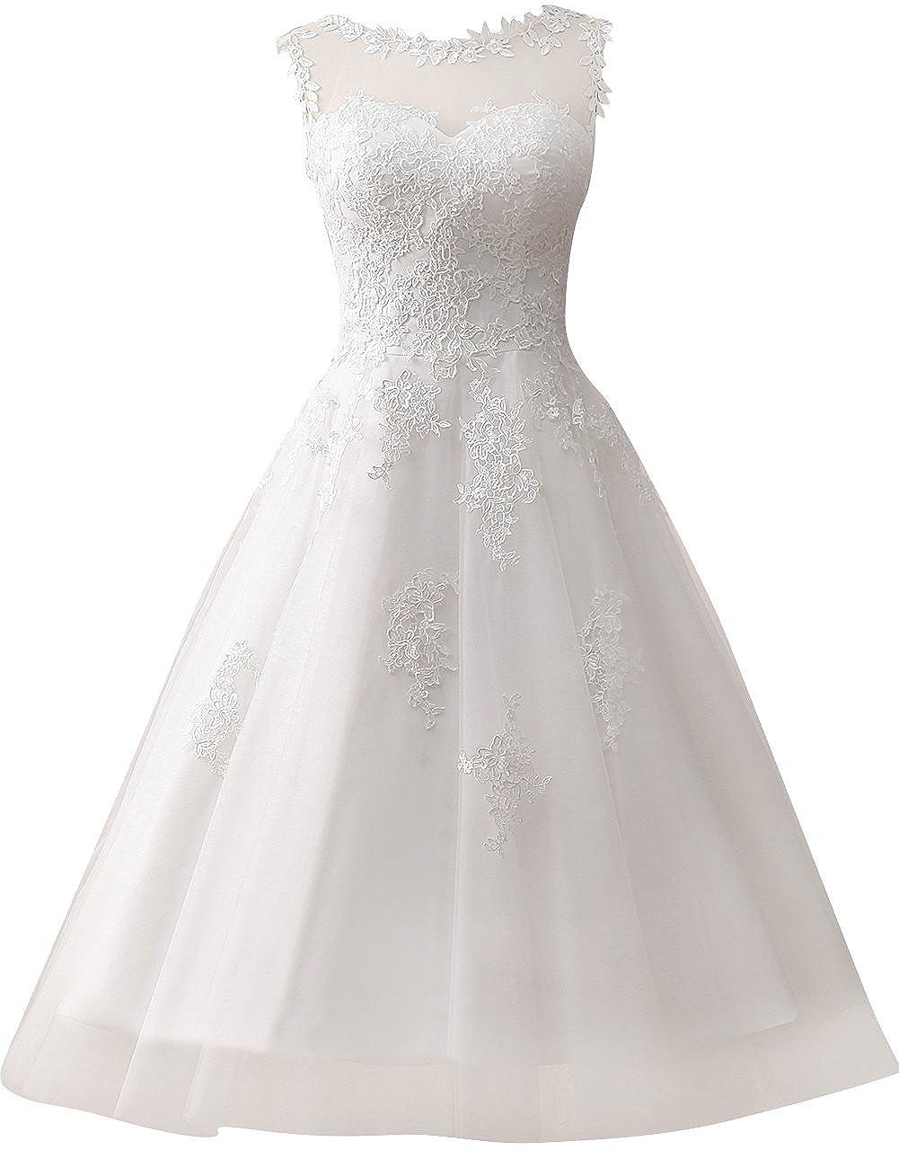 Jaeden Appliques Lace Short Wedding Dresses Tulle Bridal Gown For