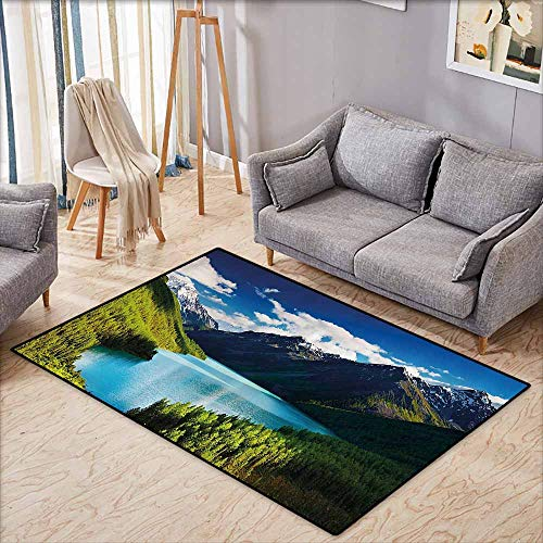 - Hallway Rug,Nature,Mountain Range and Lake with Idyllic Pine Forest Cloud Sky Calm Landscape,Children Crawling Bedroom Rug,4'7