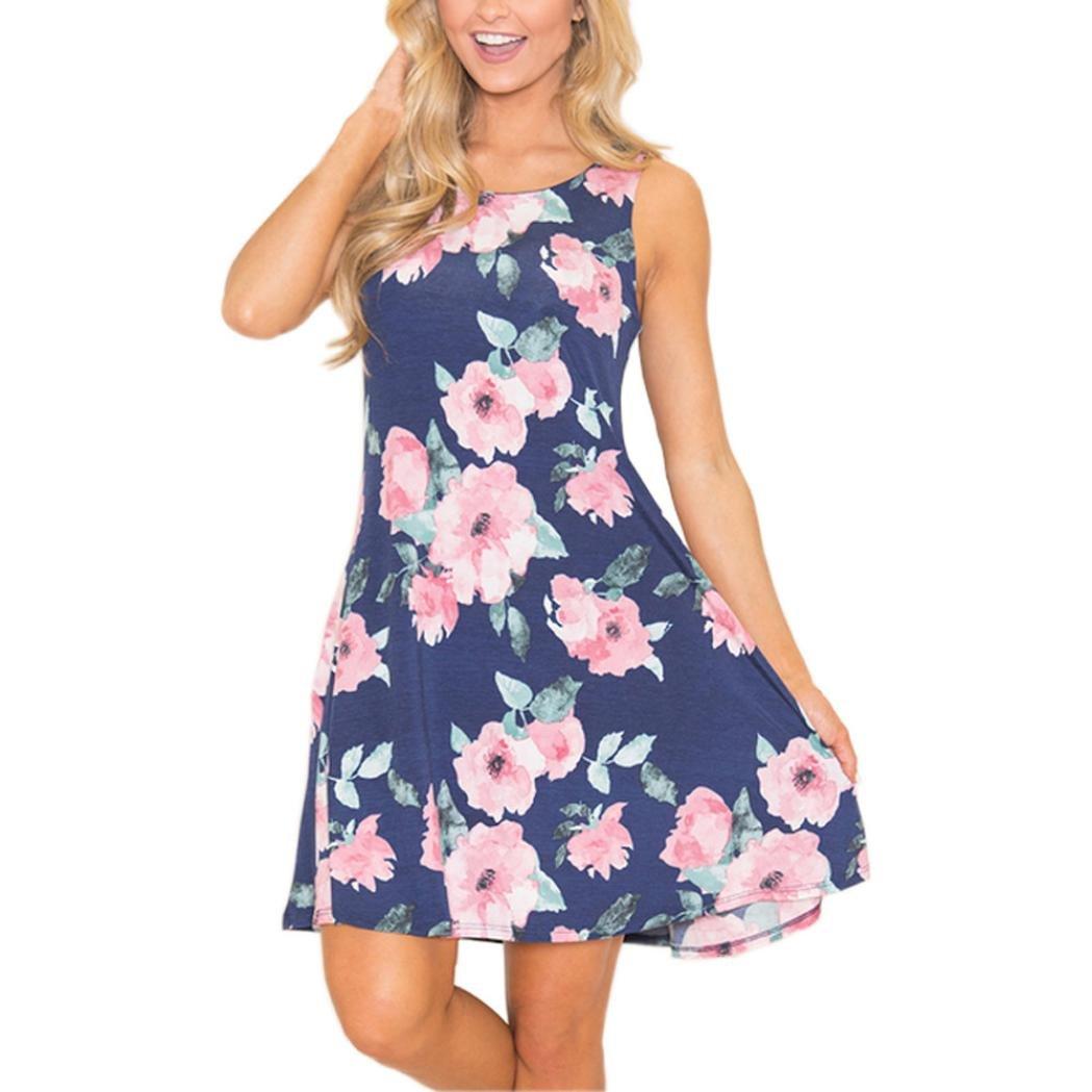 Jaminy Damen Sommerkleider Strandkleid, 2018 Frauen Sommer Ärmellose Taschen Blumen Flare Casual Täglich Kurzes O-Ausschnitt Minikleid