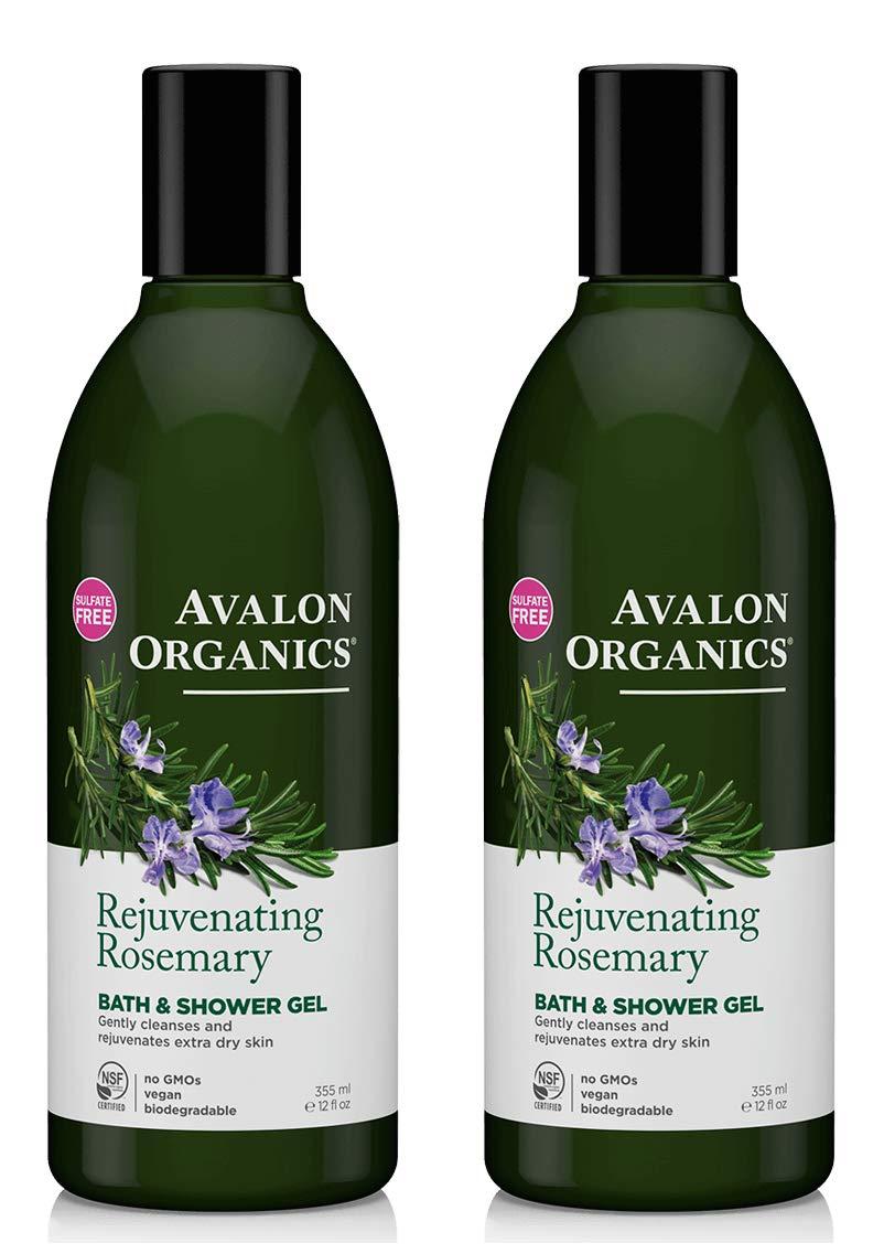 Avalon Organics Rejuvenating Rosemary Bath and Shower Gel (Pack of 2) With Aloe Vera Leaf Juice, Quinoa Seed, Orange Peel, Lemon Peel, Balsam Copaiba, Coriander, Lavender, Geranium, Rosemary, Calendula, Matricaria, Wild Yam and Limonene, 12 oz. each