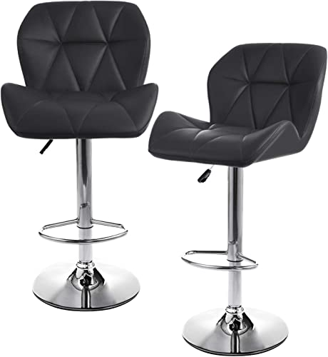 Houssem Counter Height Adjustable Barstools 360 Swivel Kitchen Chairs Set of 2 Upholstered Pub Bar Stools