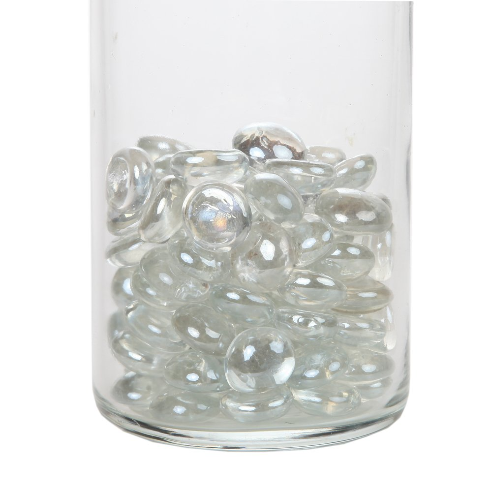 Home-X Decorative Glass Beads, Perfect Aquariums, Vases, and Candles, Clear (1lb Bag)