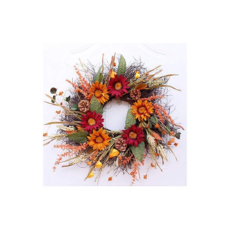 silk flower arrangements xihatoy 24 inch artificial spring sunflowers themed wedding wreath all seasonal home décor