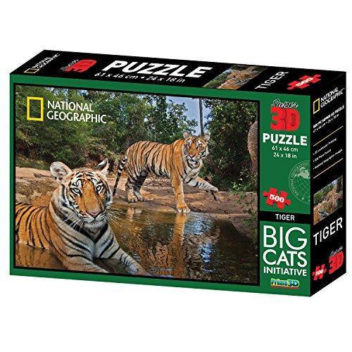 National Geographic Big Cats Initiative Tigers Super 3d Puzzle (500-piece,