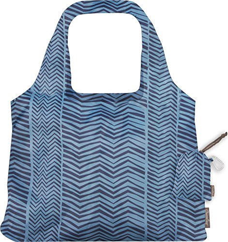 ChicoBag VITA Bohemian Compact Reusable Shopping Tote Grocery Bag, Eco-Friendly, Washable, with Attached Pouch and Carabiner Clip to Take With You on the Go - Nomad Zigzag