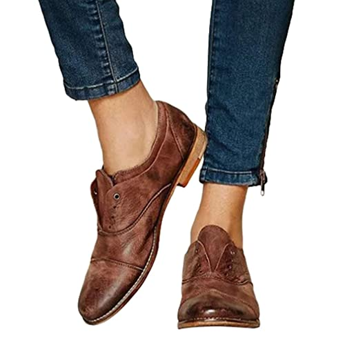 Mujer Retro Loafers Casual Cabeza Redonda Zapatos Planos Color Sólido Mocasines Elegante Casuales Calzado Zapatos Antideslizante Transpirable: Amazon.es: ...