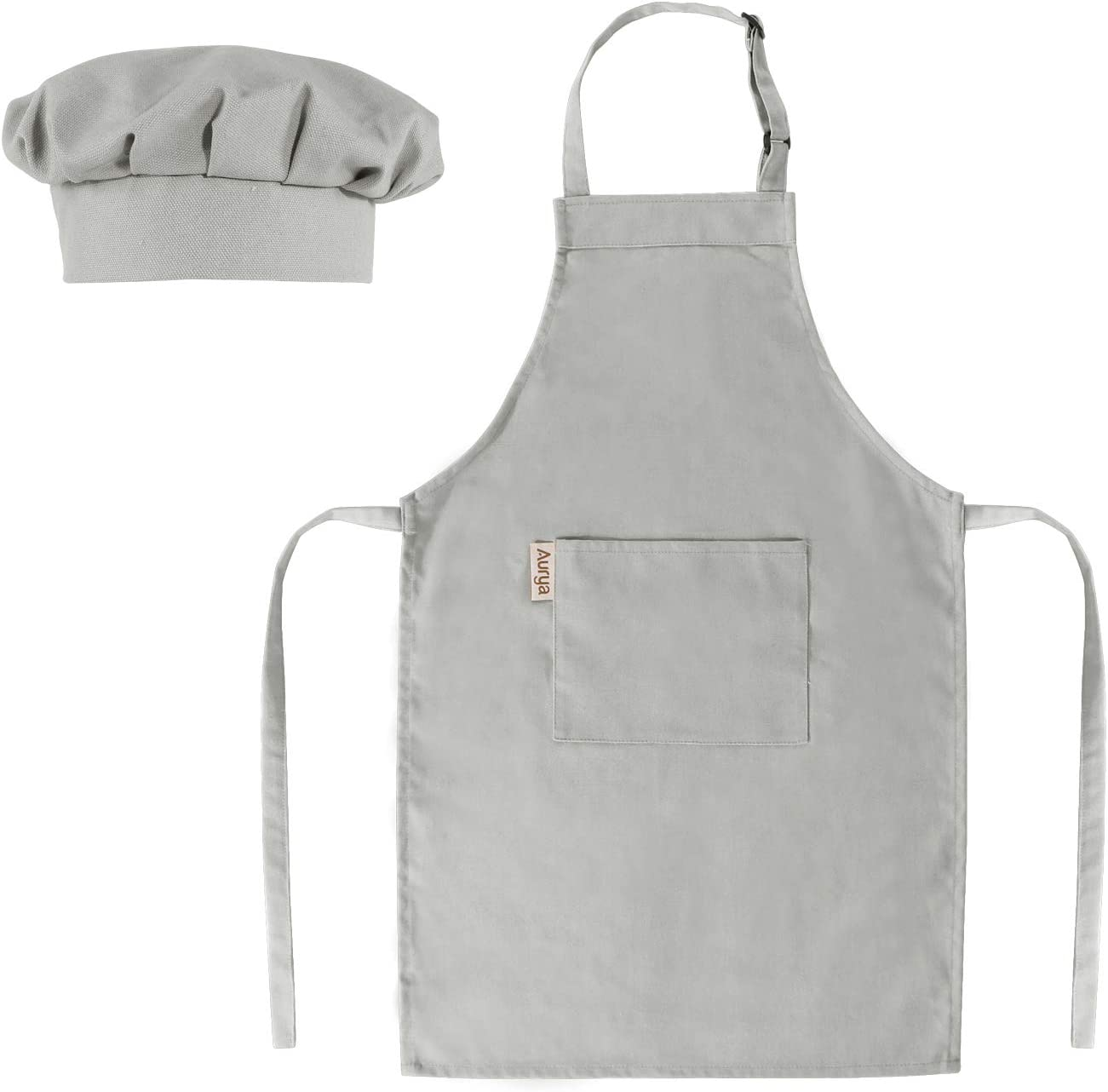 green Baking Painting CF3013 Kids Apron and Chef Hat Set 6-9 Year Childrens Adjustable Bib Aprons with 2 Pockets for Cooking