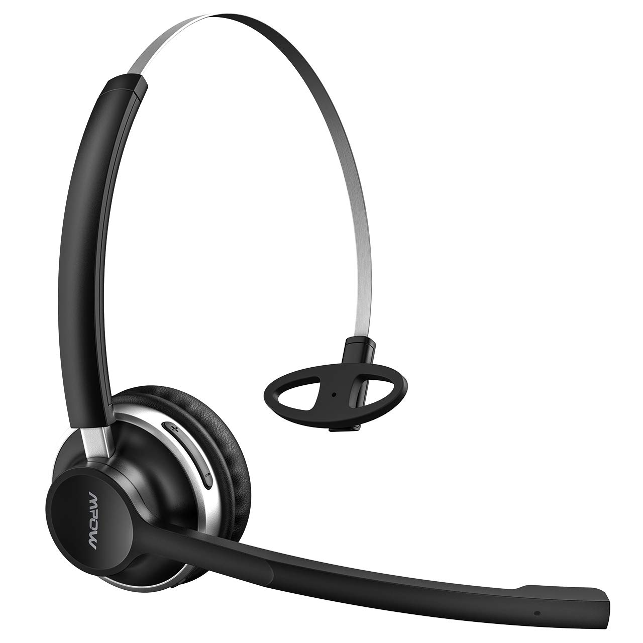 Mpow Wireless Office Headset Truck Driver Monaural Headset V4.1 Bluetooth Bluetooth Headphones with Noise Reduction Mic, Voice Command for Phones, VoIP, Skype, Call Center (Wireless Black)
