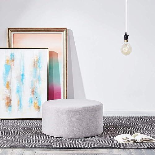 BELLEZE Modern 24″ Round Pouf Fabric Footstool Living Room Ottoman