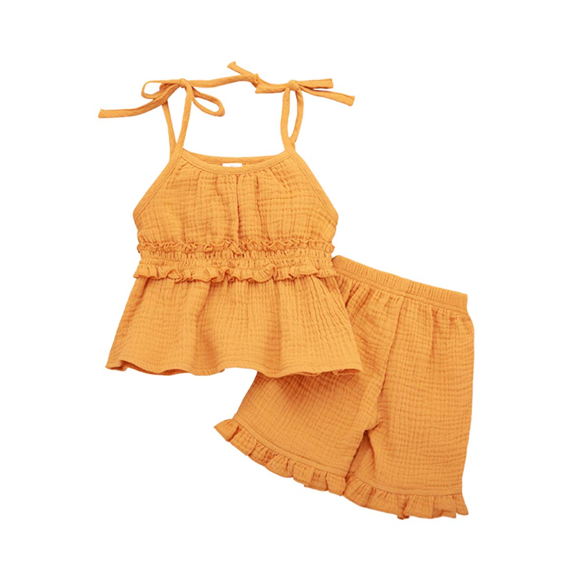 SWNONE 2PCS Toddler Kids Baby Girls Summer Short Set Clothes Ruffle Shoulder Straps Dress Top Pants Set Linen Outfits