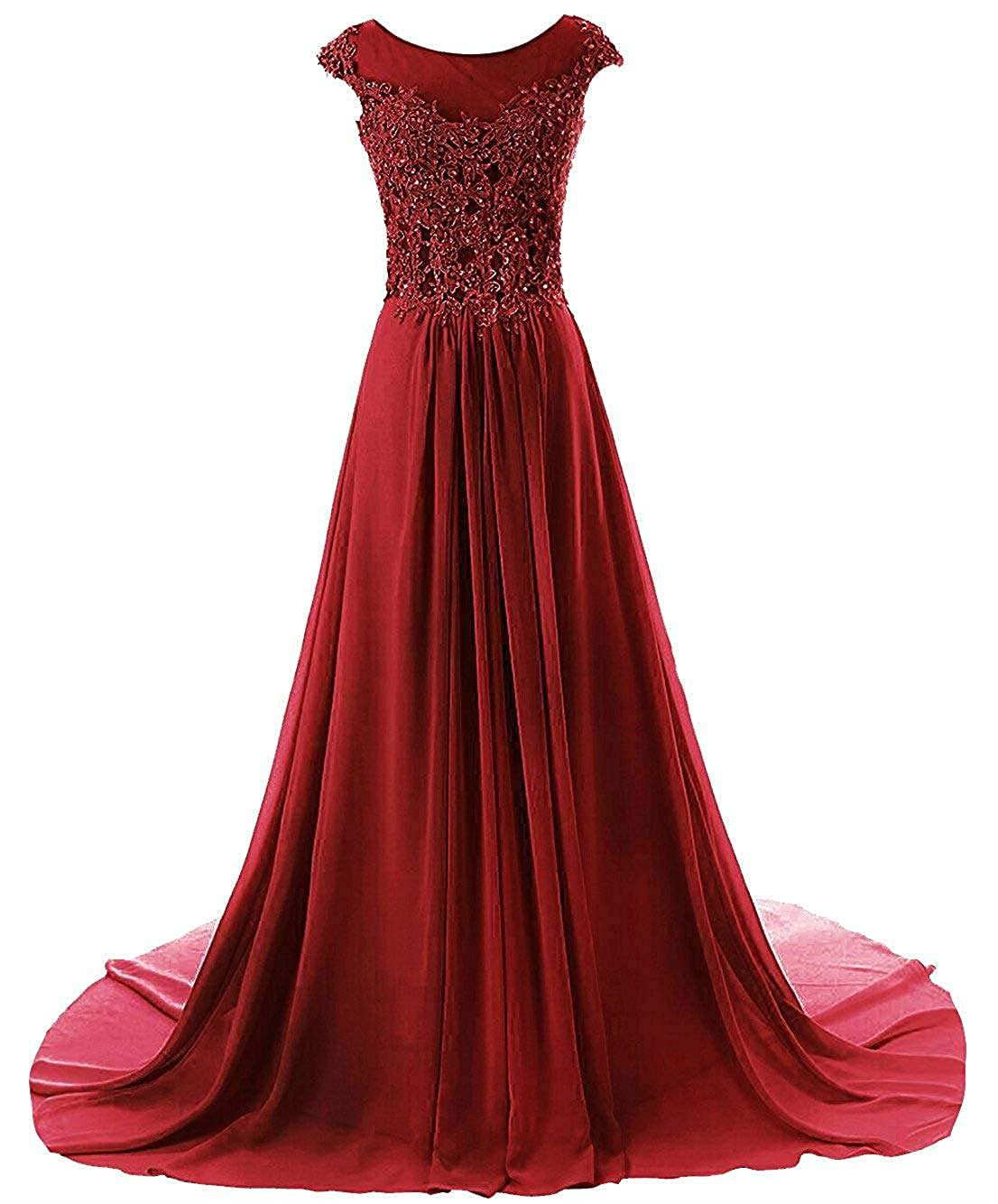Burgundy Wanshaqin Women's Aline Lace Appliques Evening Party Cocktail Dresses Bridesmaid Gowns Prom Formal Dresses for Events Party