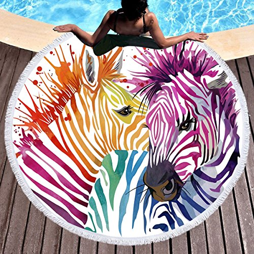 Sleepwish Zebra Rainbow Large Round Beach People Round Towel Blanket Circle Table Cover Beach Throw Tapestry (Zebra Watercolor Art, - Zebra Circle