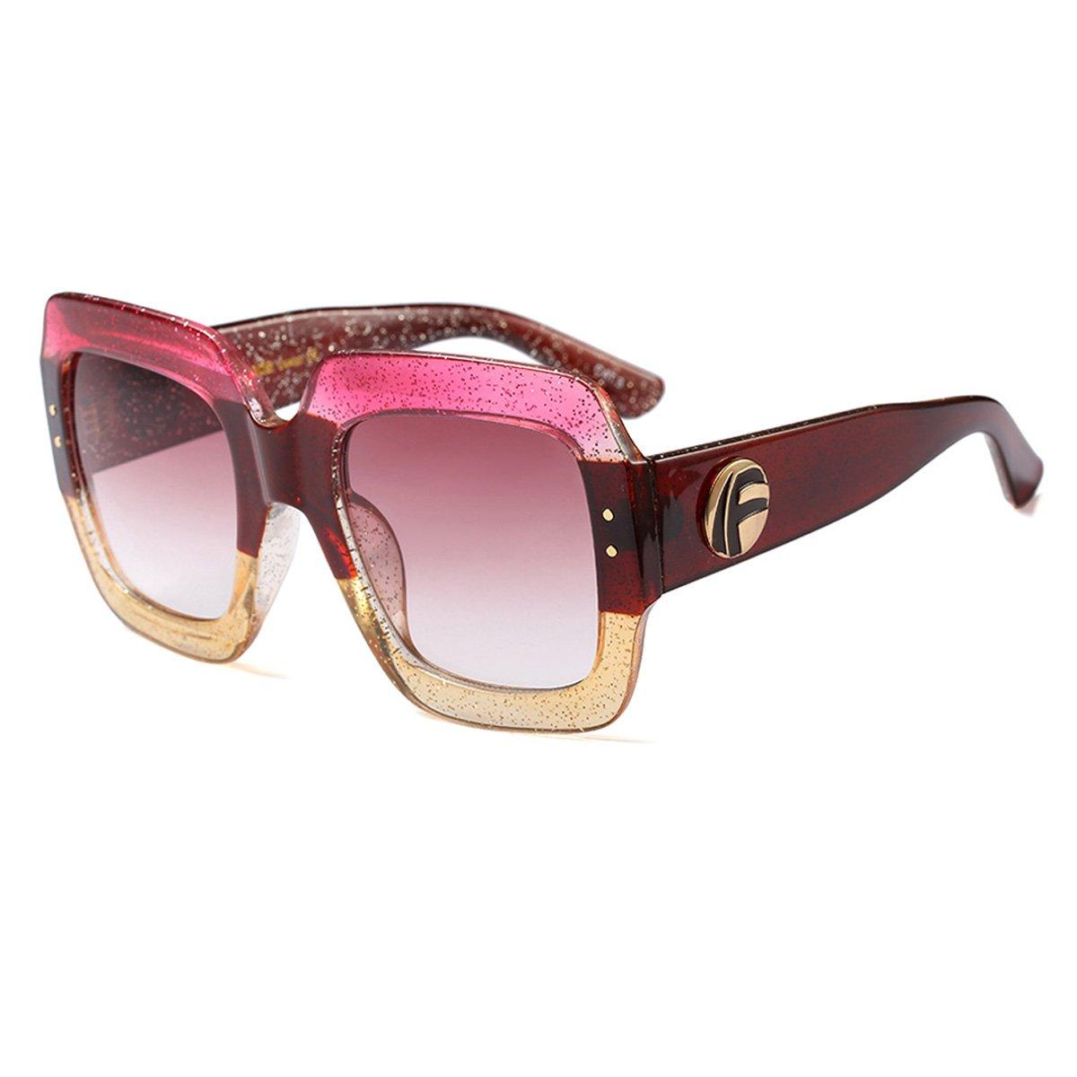 d3e5455773b2 Amazon.com  YOJBO Oversized Square Sunglasses Women UV400 Lens Big Sun Glasses  Designer Brand Luxury Vintage Retro Shade  Clothing